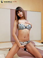 Young ladyboy jerks on her tasty tool - Sweet Bangkok ladyboy strip and jerks off