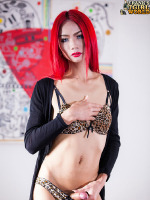 Sexy Slim Enjoy Cums! - Sexy Enjoy is a hot slim Asian tgirl with a sexy body, shock neon red hair and a big hard cock! Watch this horny transgirl jacking off and cumming!