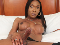 For many years now Kayla Biggs has been of our hottest girls. It's nothing but an excitement on Black TGirls when superstar Kayla is back! In another smashing solo scene produced by KilaKali, Kayla returns ready to have fun and give you some more! Watch her stroking her cock until she cums! She's amazing!