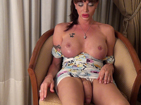The Great and Only TS Mariana Cordoba shoves a big dildo in her tranny asshole