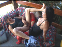 Calena - Stockinged shemale spreading guy's cheeks with her mighty cock on the sofa