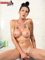 Wet & Wild Morgan Bailey! - Gorgeous tall Tatted tgirl Morgan Bailey has a smoking hot body, big sexy boobs, a gorgeous ass and big hard cock! Watch this sexy transgirl jacking off wet & Wild in the bathtub!