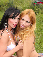 Carla Novaes and Jaqueline Sobral - Carla Novaes fucks her friend in this outdoor hardcore translesbian sex scene