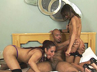 A kinky tranny threesome with Alana, Fabricia and Tonny sucking each other's stiff cocks off