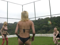 Sporty t-girls play ball and suck dick - Alessandra Leite, Gisele Lemos, Isabela Davilla, Leticia Castelo